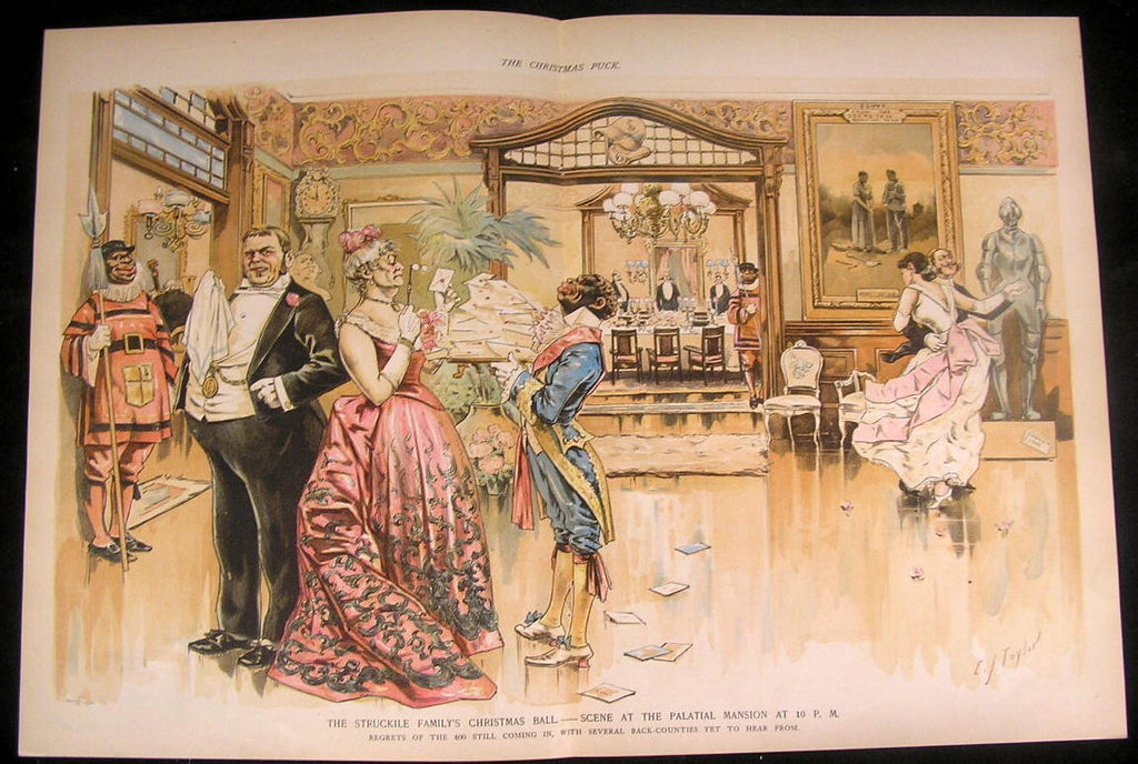 Christmas Ball Black Servants Racism 1889 antique color lithograph print