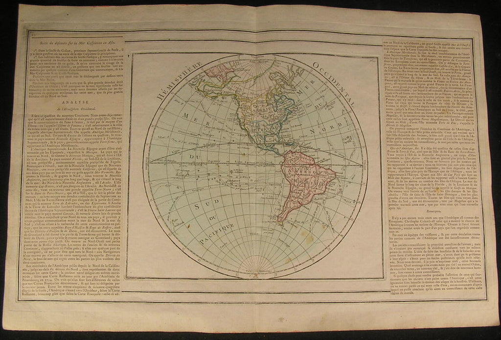 America Mer de l'Ouest Western Hemisphere 1766 beautiful old antique rare map