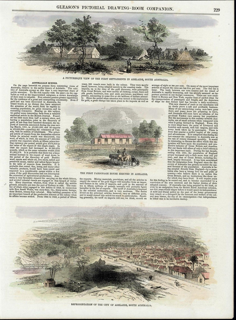 Adelaide Australia Views Parsonage House c. 1853 great old print for display