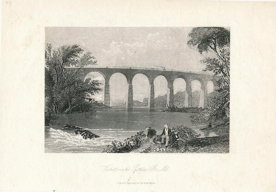 Viaduct over Patapsco River Maryland ca. 1855 engraved U.S. view print
