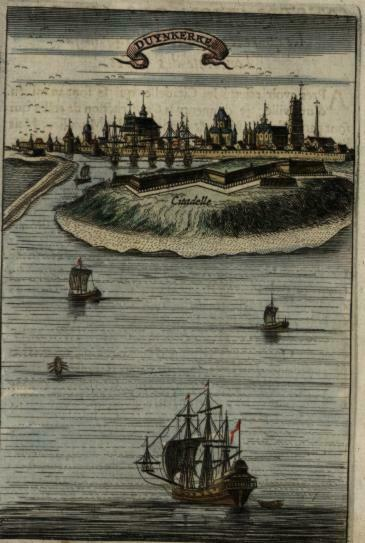 Dunkirk France miniature city view 1672 Mallet charming miniature print
