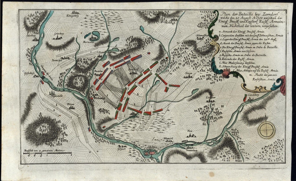 Battle of Zorndorf Brandenburg 1758 fine old vintage antique battle plan map