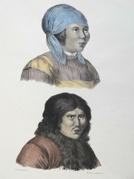 People of Kamchatka Male & Female portraits 1850 ethnic view hand color