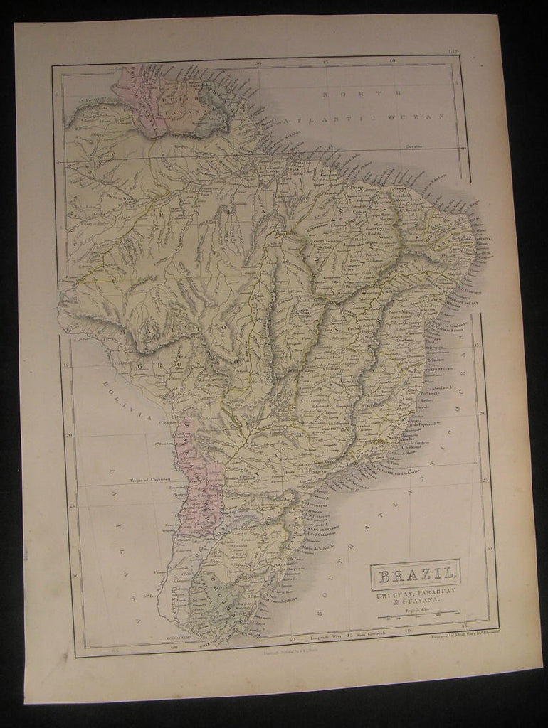 Brazil Uruguay Paraguay South America 1853 antique engraved hand color map