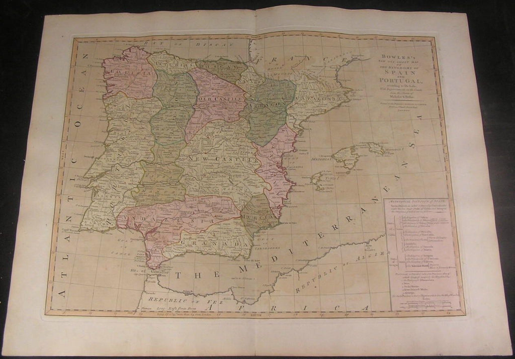 Spain Portugal c.1794 Bowles & Carver original full color large antique map