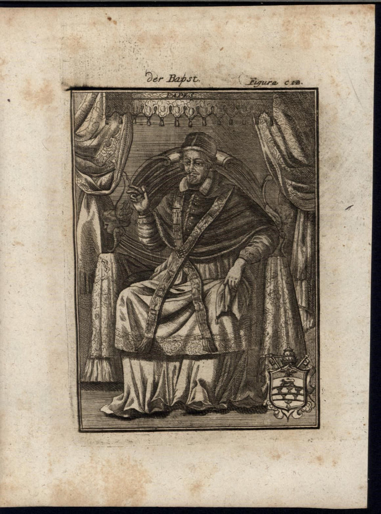 Pope Innocent XI Vatican Coat of Arms Pontiff 1719 antique Mallet World print