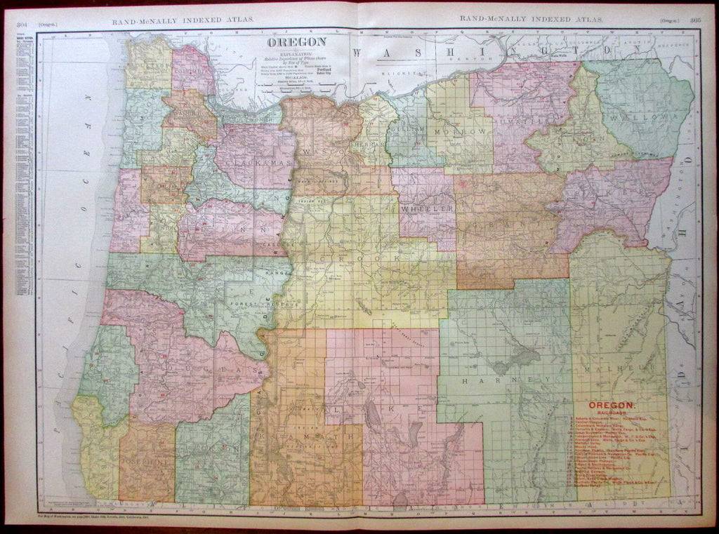 Oregon state by itself Railroads 1908 huge detailed Rand McNally map