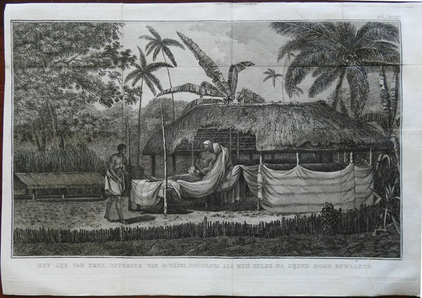The Body of Thee Ruler of Tahiti Preserved Body 1802 Captain Cook engraved print