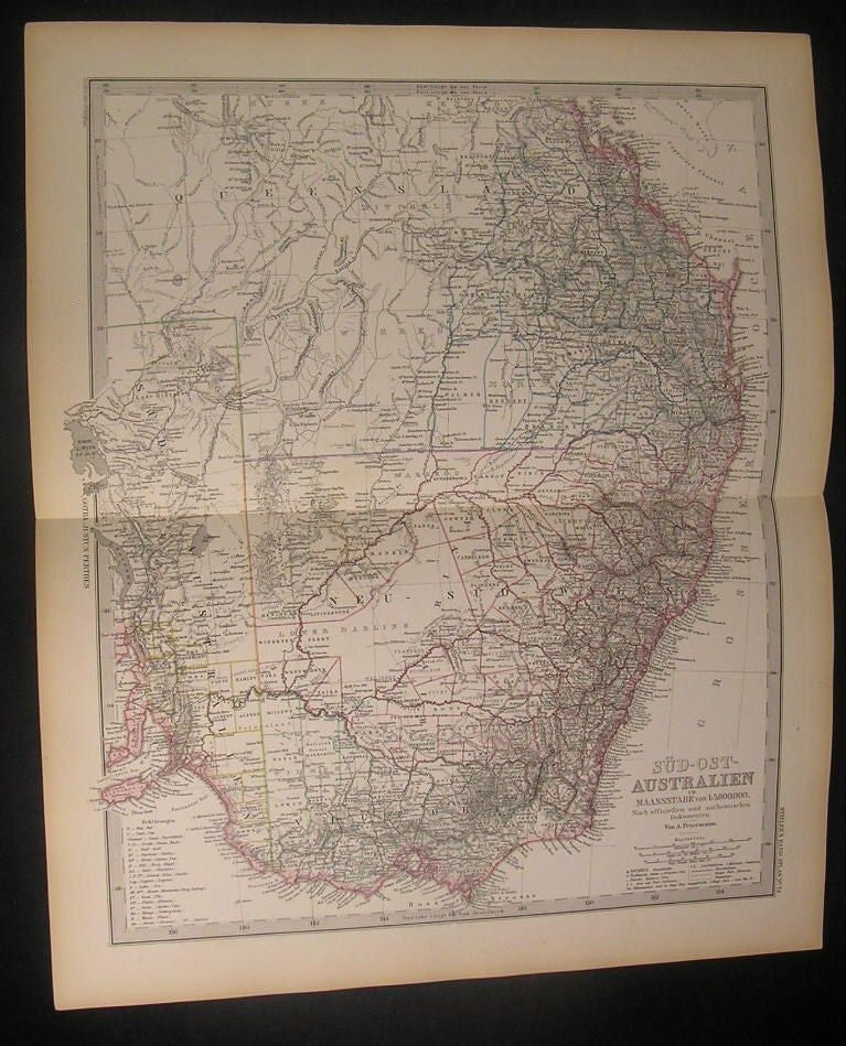 South East Australia 1883 detailed Berghaus antique engraved hand color map