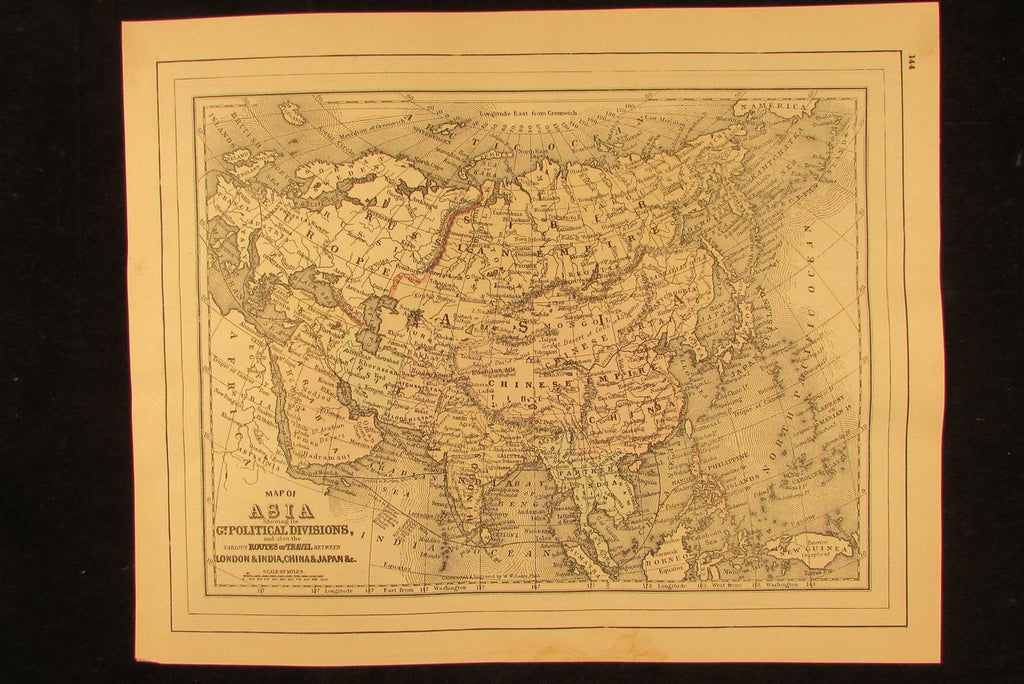 Asia Arabia China India Hindoostan 1894 fine antique hand colored map