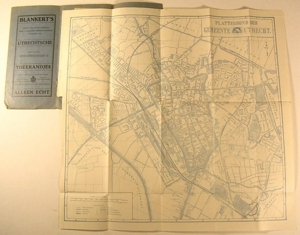 Utrecht Omstreken Netherlands City Plan c.1920's Nederland vintage folding map