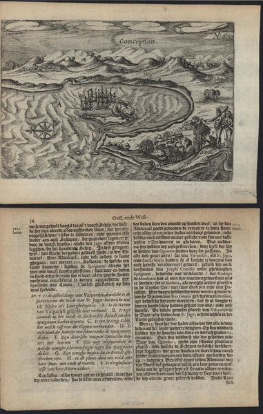Conception Chile 1645 Janszoon scarce early antique copper-engraved harbor view
