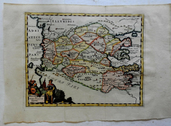 Macedonia Thesalonika Balkans Greece Ottoman Empire 1711 decorative Cluver map