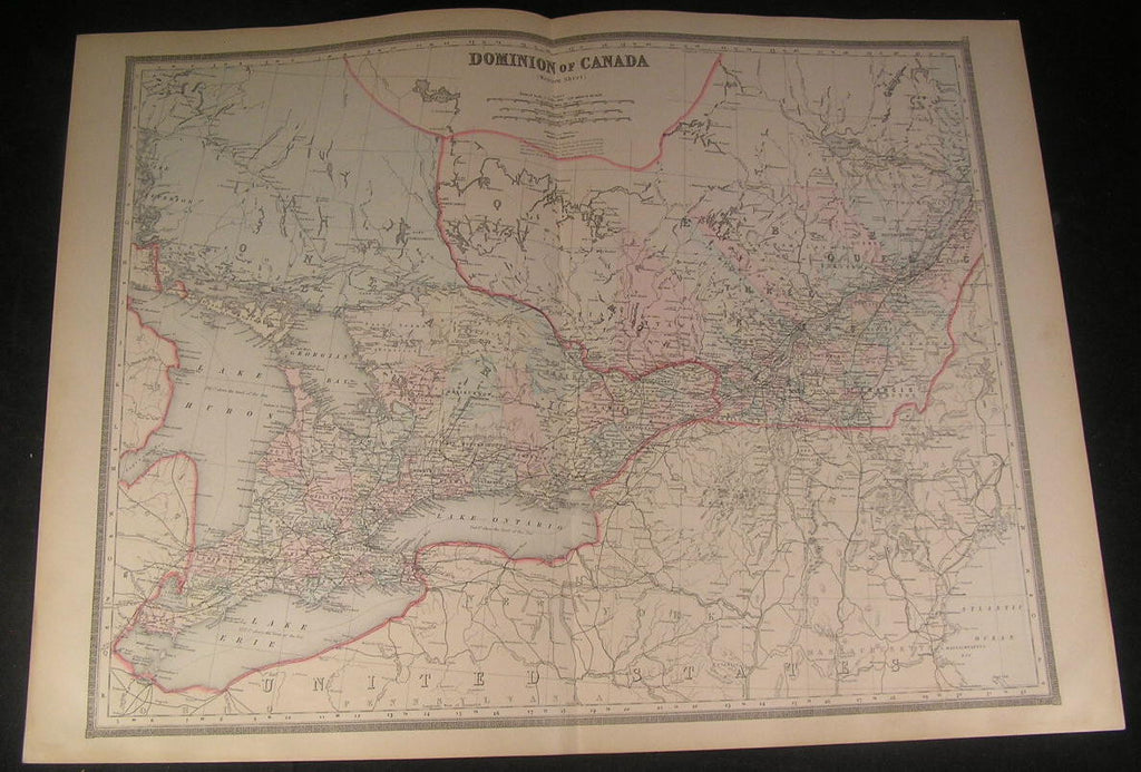 Dominion of Canada Ontario Huron Montreal 1890 Walker large antique color map