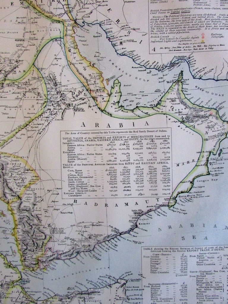 Arabian peninsula North Africa Nubia Abyssinia 1883 Lett's SDUK detailed map