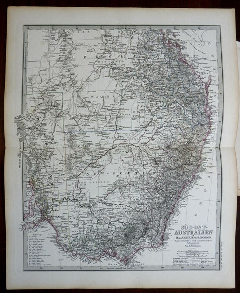 Eastern Australia Queensland New South Wales Victoria 1878 Stieler detailed map