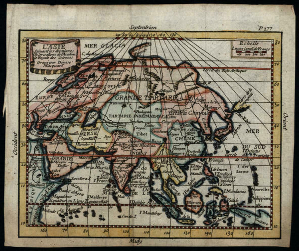 Asia continent shows Company's Land myth c.1680-90 rare Macquart miniature map