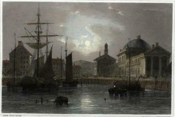 Faneuil Hall Boston from water dock c.1850 engraved view print lovely hand color