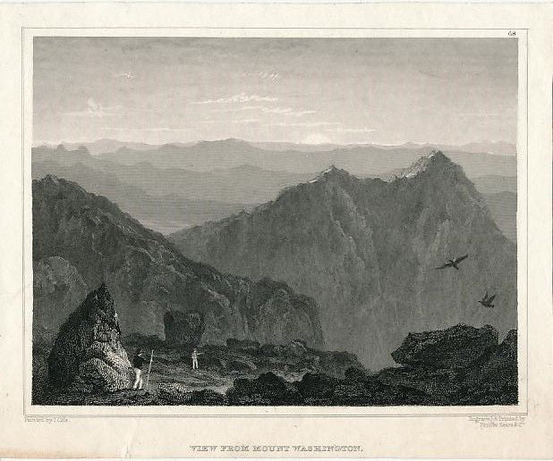 Birds-eye view from Mt Washington NH ca. 1855 engraved U.S. scenic print