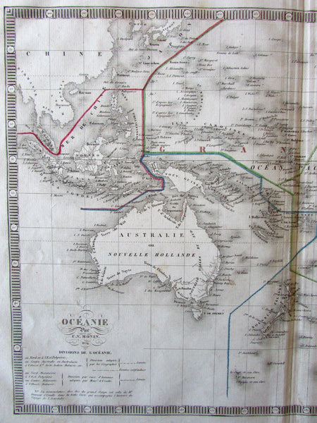 Australia New Zealand Oceania NSW Colony inset 1834 Monin lovely large old map