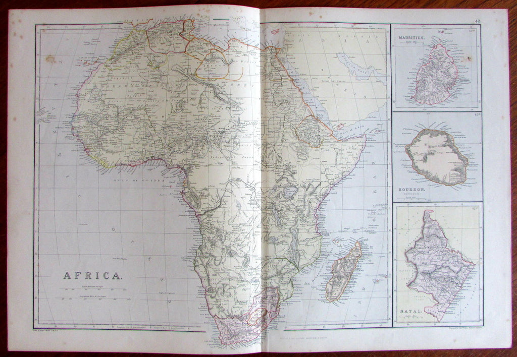 Africa w/ Natal Mauritius Reunion c.1860-70 Blackie Weller old color litho map