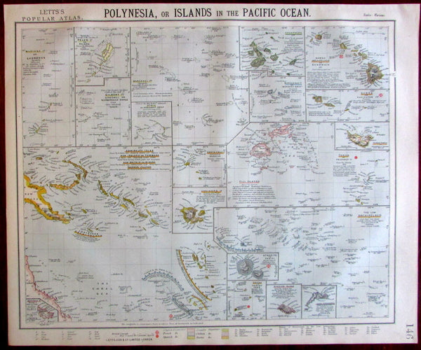 Polynesia Pacific Islands Fiji Tahiti Hawaii 1883 Lett's detailed map