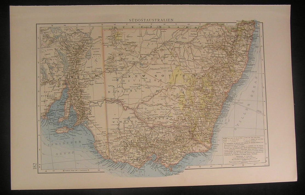 South East Australia 1899 very detailed German old antique color litho map