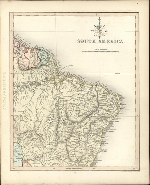 Brazil Amazon Dutch French Guyana South America 1848 scarce old antique map