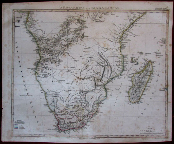 South Africa interesting interior features 1846 Stulpnagel Stieler map
