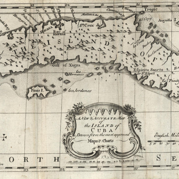 Cuba Caribbean island Greater Antilles 1762 scarce old periodical map Bowen type
