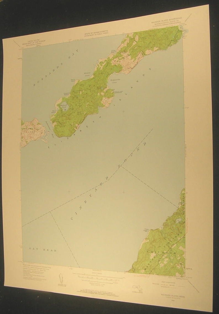 Naushon Island Dukes Co. Massachusetts 1958 antique color lithograph map