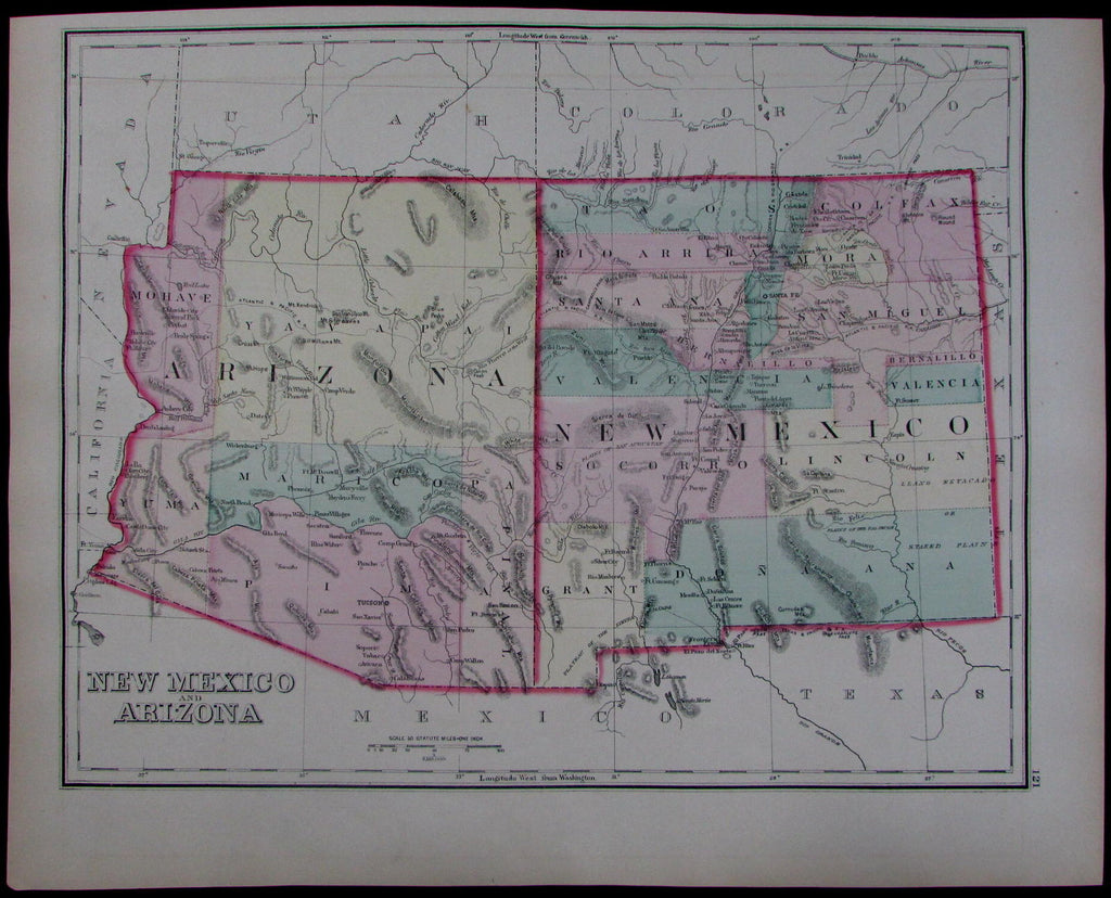 New Mexico Arizona Tucson Santa Fe Forts Missions Indian Lands C.1873 U2013 AntiqueMapsPrints.com