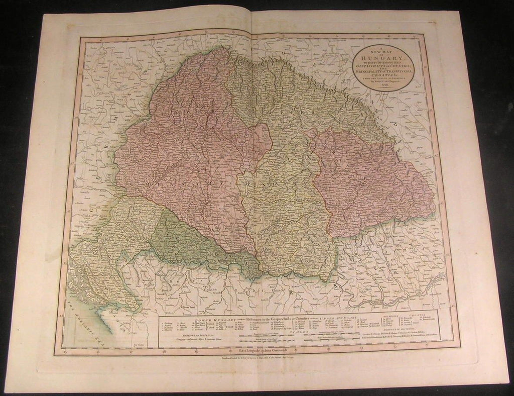 Hungary Transylvania Croatia 1799 Cary fine folio antique map w/ old hand color