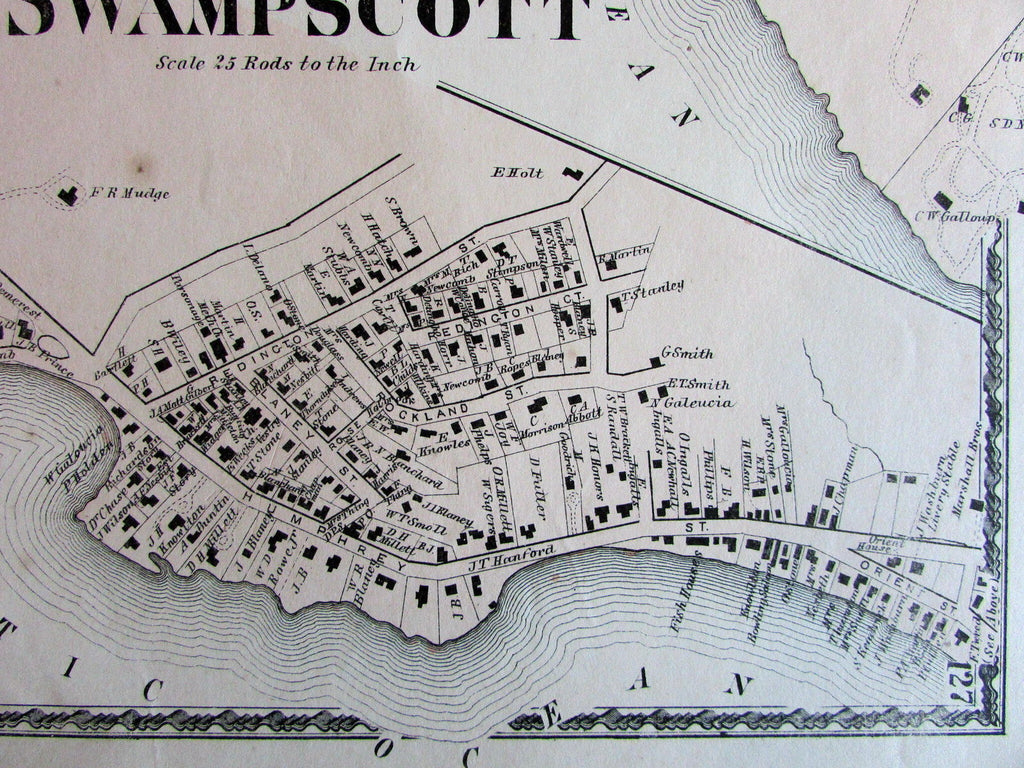 Swampscott on ocean Essex County Mass. 1872 detailed old map