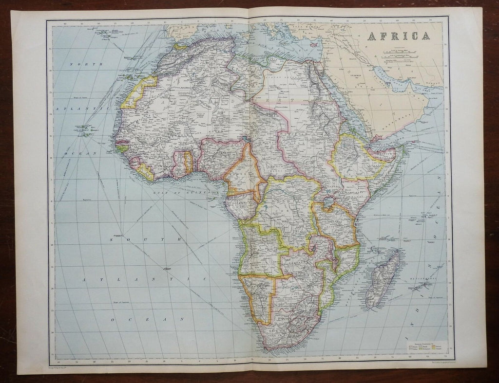 Africa Continent shows Colonial European possessions 1914 Philip fine large map