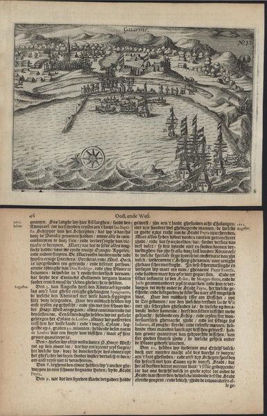 Guarme Peru So. America harbor view 1645 Janszoon rare early antique  w/ ships