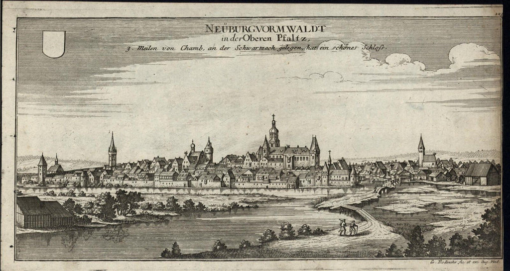 Neunburgvormwald Germany ca.1700 Bodenehr antique engraved prospect view print