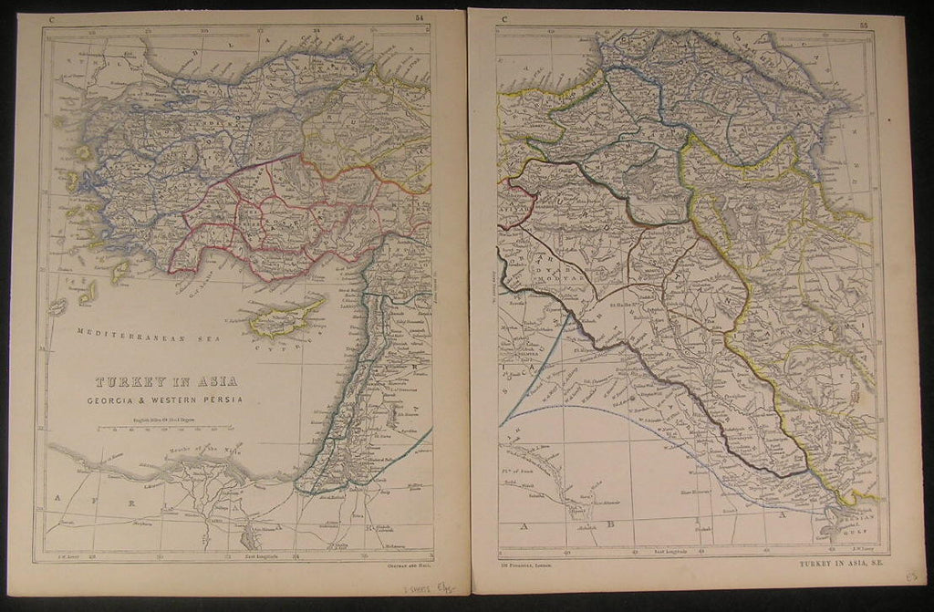 Turkey Ottoman Empire Georgia c.1850-5 antique hand colored 2 sheet map