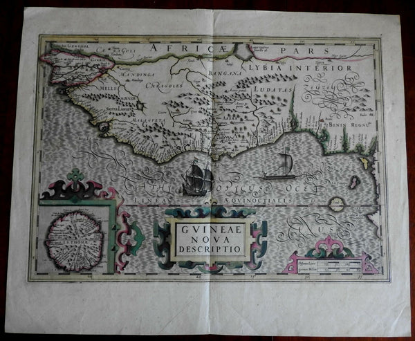 West Africa coast Guinea St. Thomas inset Benin 1610 Hondius folio sheet map