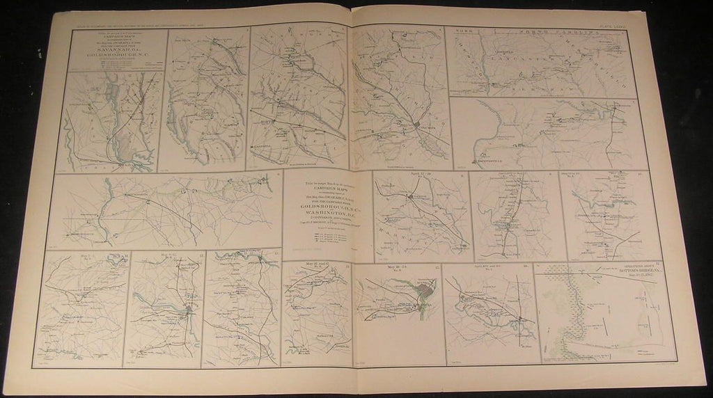 Campaigns from Goldsborough to Washington c.1890s antique detailed Civil War map