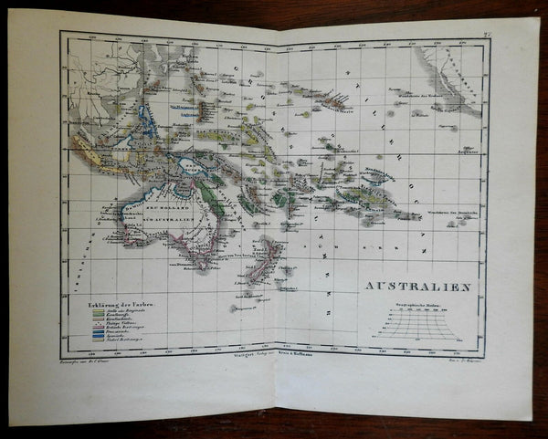 South Pacific Australia w/hooked lake Torrens 1858 Krais & Hoffman scarce map