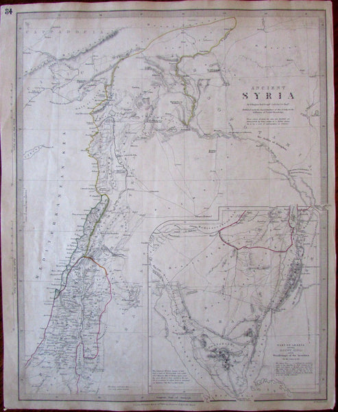 Ancient Syria Mt Sinai Wanderings of Israelites c.1843 SDUK detailed Hughes map