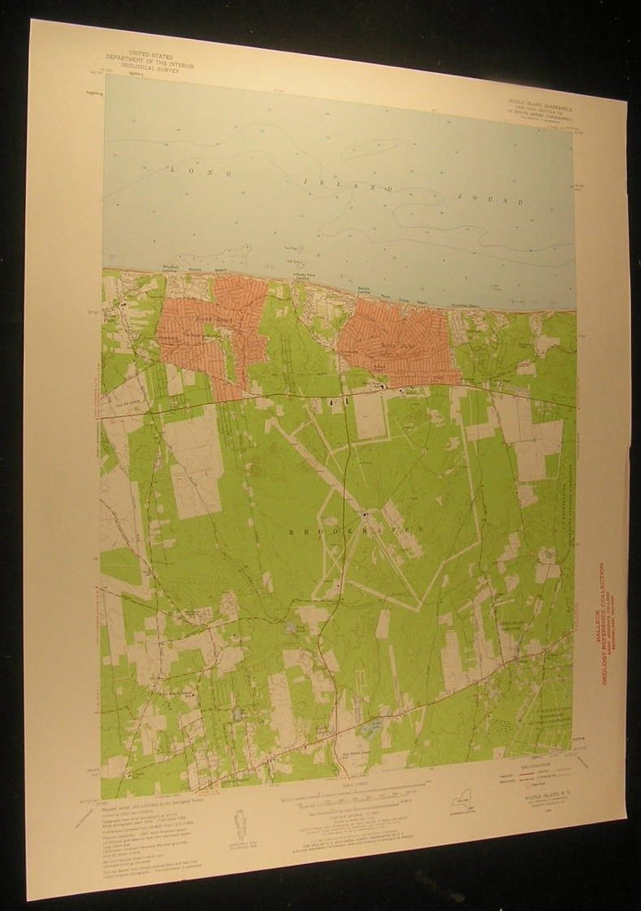 Middle Island New York Brookhaven Artist Lake 1958 antique color lithograph map