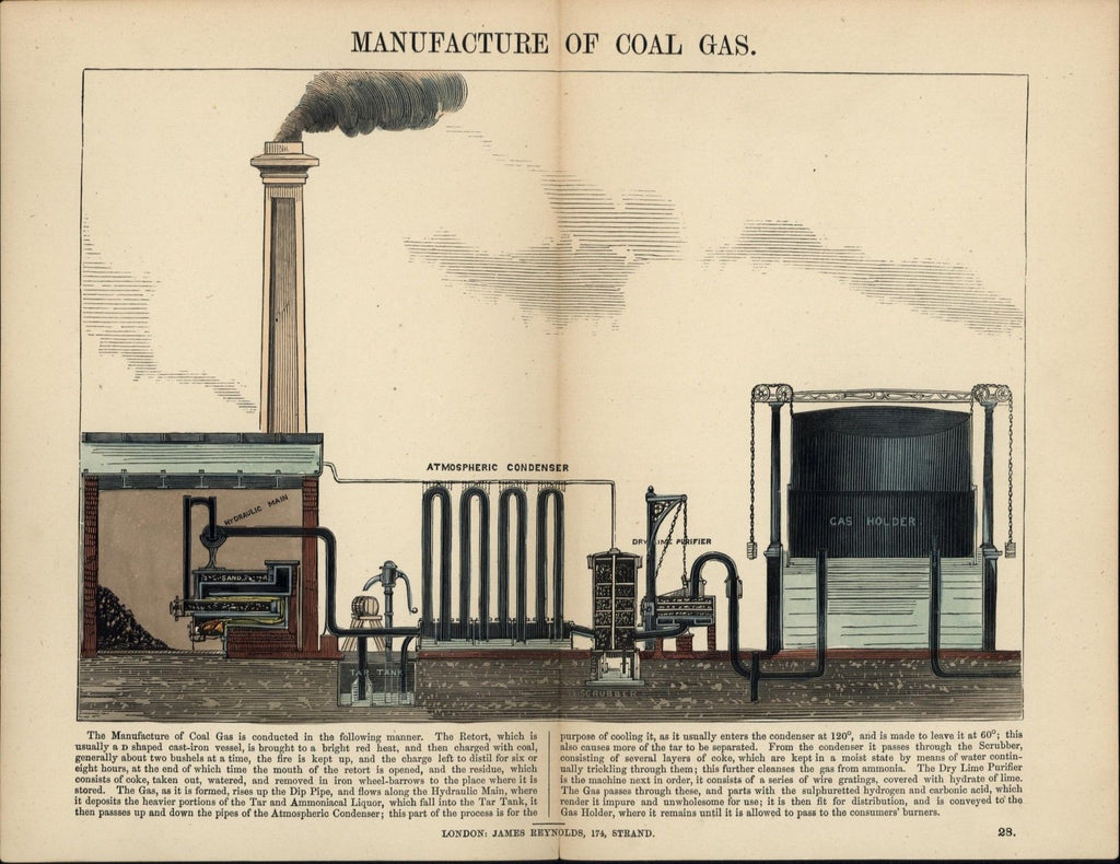 Manufacture of coal gas industrial revolution science 1850's beautiful old print