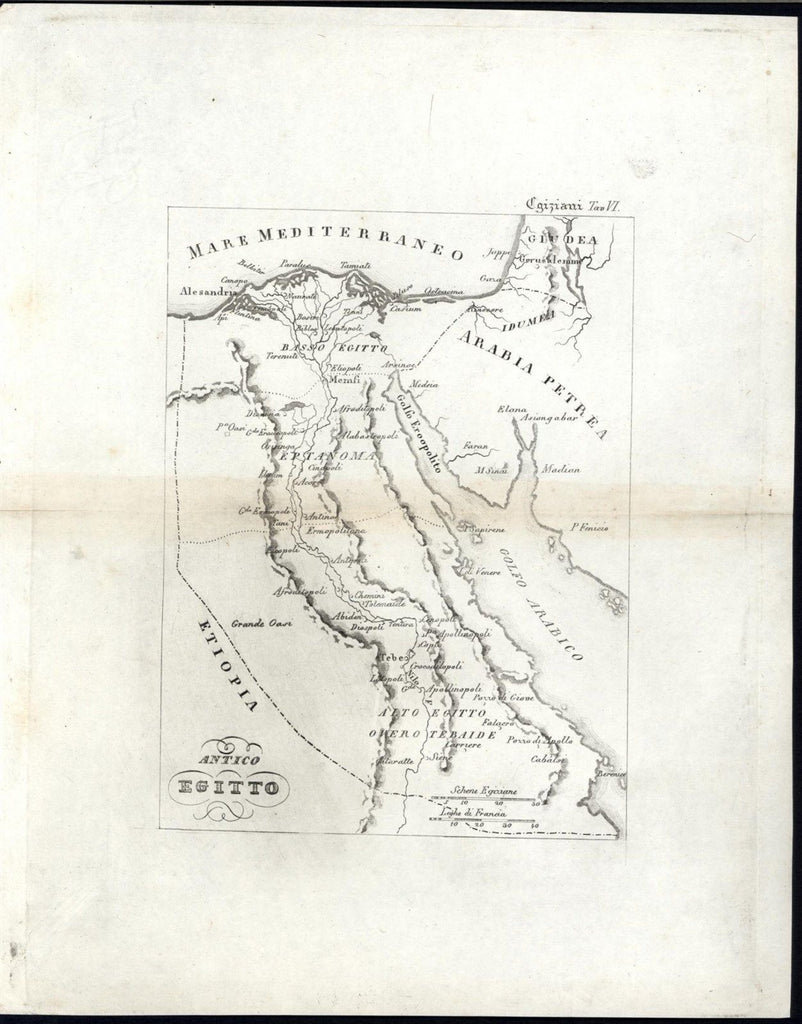 Ancient Egypt Nile River Delta Sinai Grand Oasis c.1820-30 rare engraved map
