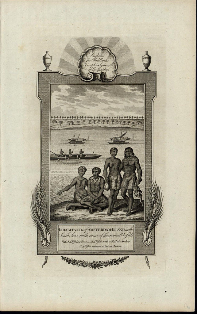 Amsterdam Island Natives Canoes nice ca. 1780's fascinating old engraved print