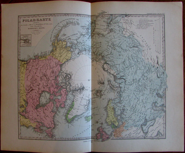 North Pole Russian Canada Alaska 1876 Berghaus Stieler detailed old map