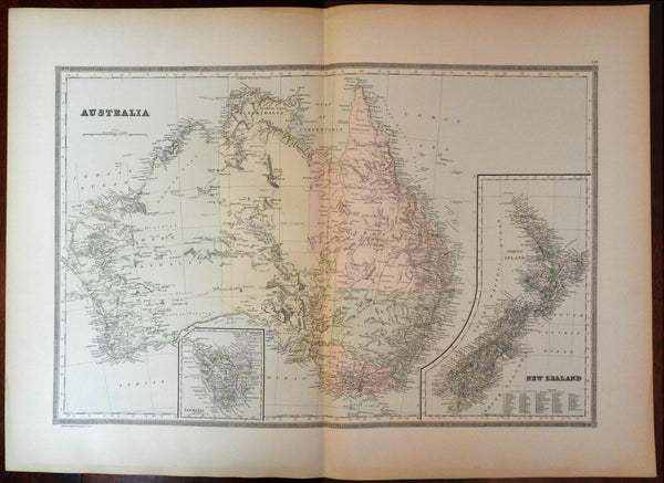 Australia Tasmania New Zealand explorer routes Torrens 1889 Bradley large map