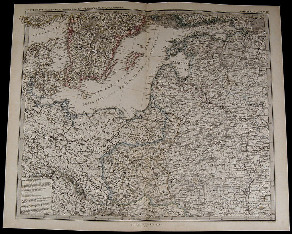 South Sweden Denmark Prussia Poland West Russia nice 1875 fine old detailed map