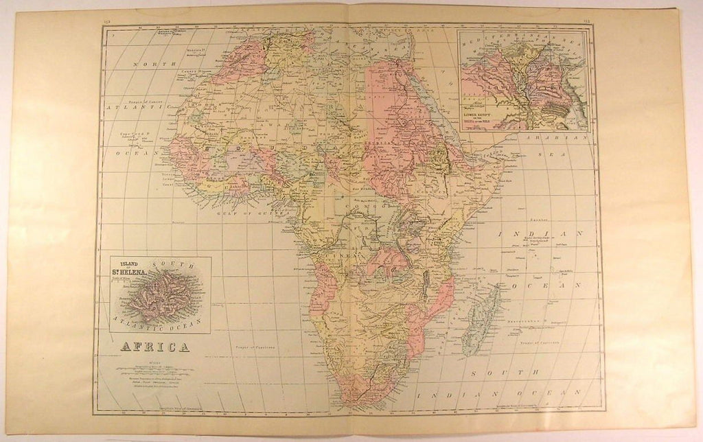 Africa wonderful large c. 1890 fine scarce Bradley antique hand color map